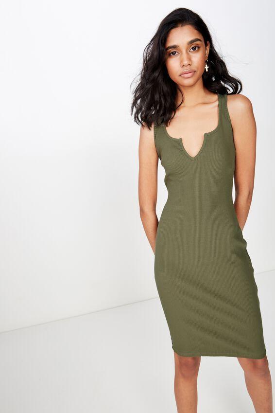 Edie Notch Rib Midi Dress, OLIVE KHAKI