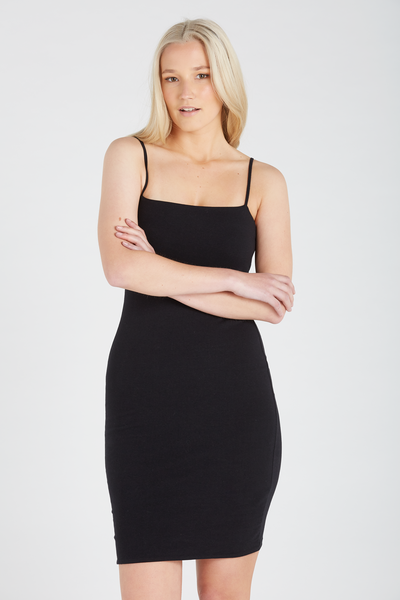 Basic Square Neck Cami Dress, BLACK