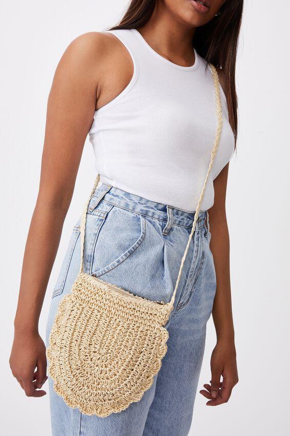 Woven Cross Body Bag, NEUTRAL
