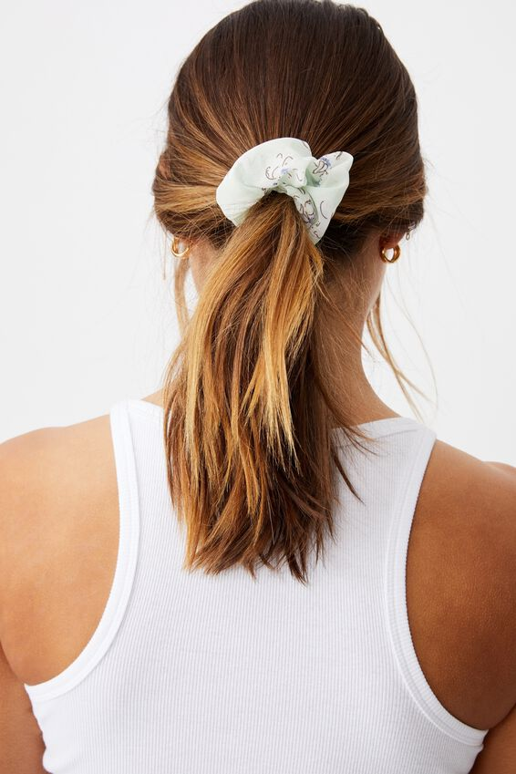 Flower Print Scrunchie, MINT FLORAL