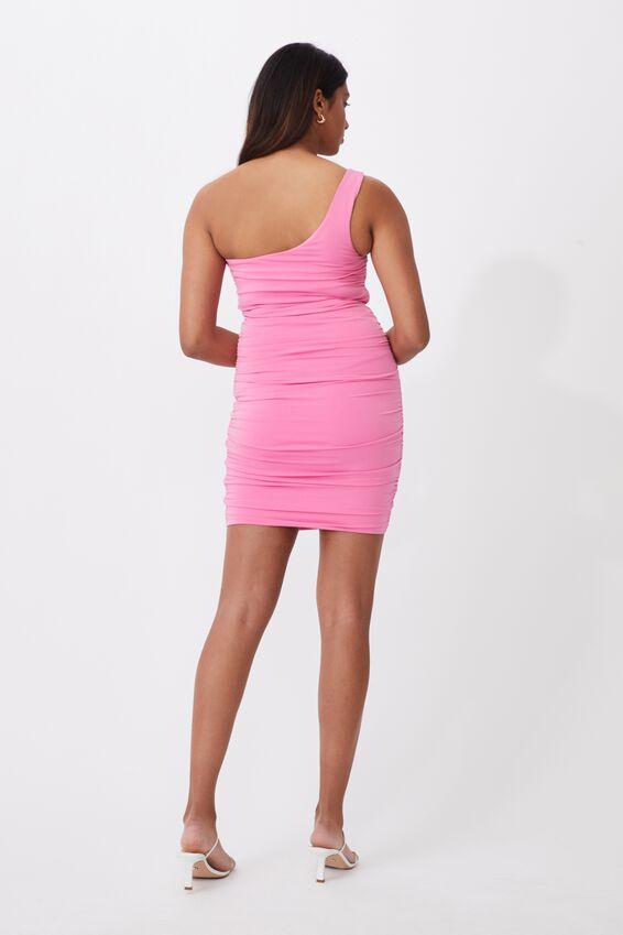 Alora One-Shoulder Ruched Mini Dress, SUPER PINK