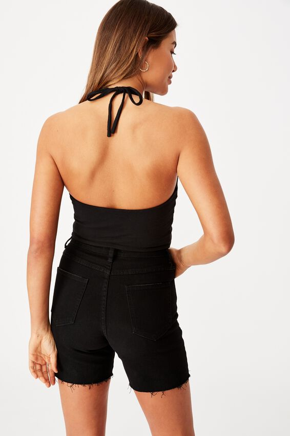 Colette Halter Neck Top, BLACK