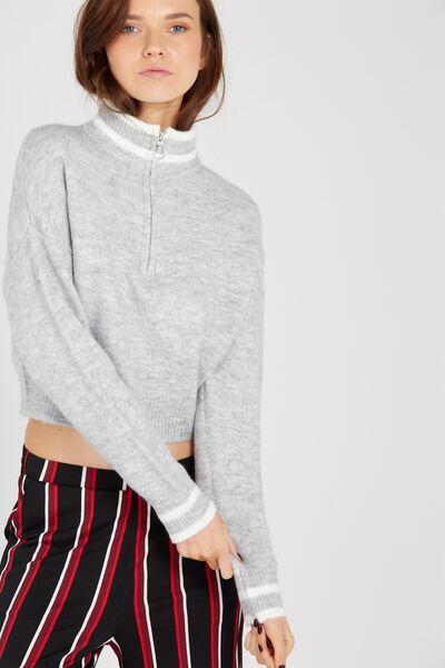 Hailey Cozy Zip Knit Top, GREY/STRIPE