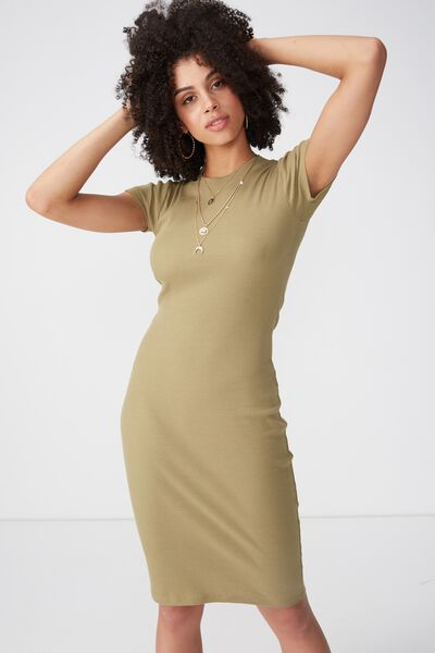 Rib Midi T-Shirt Dress, JUNGLE KHAKI