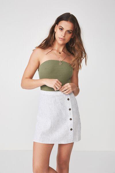 Lola Side Button Linen Blend Skirt, PINSTRIPE