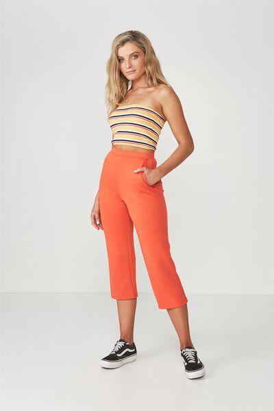 Straight Leg Crop Pant, TANGERINE