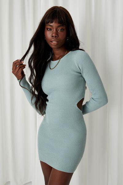 Raven Cutout Mini Dress, SOFT MOSS
