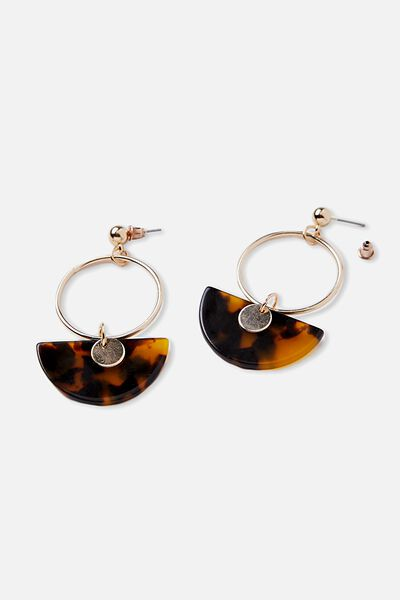 Tort Drop Circle Earrings, TORT/GOLD