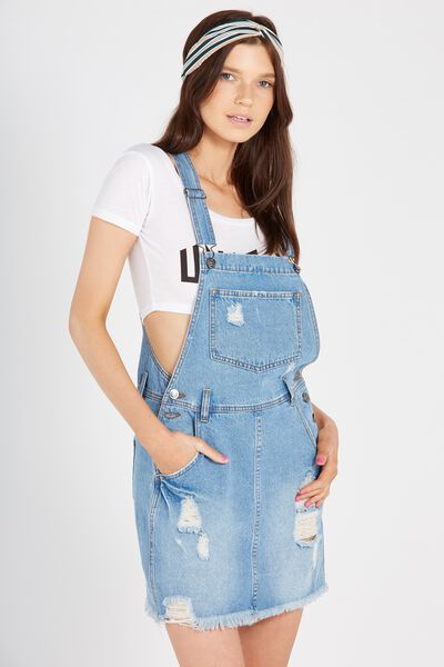 Distressed Short Pocket Denim Pinafore, ORIGINAL BLUE