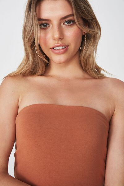 Basic Long Boobtube Built-In Bra, TOFFEE