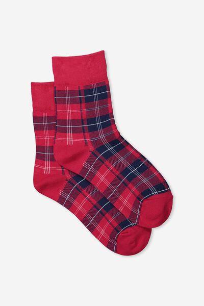 90S Check Socks, RED HERITAGE