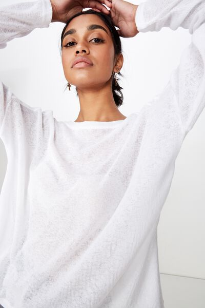 Naomi Long Sleeve Light Weight Top, WHITE