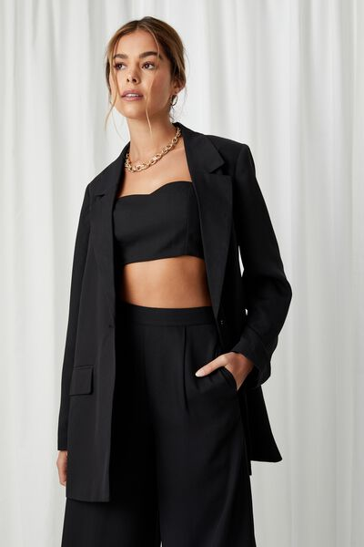 Phoebe Boyfriend Blazer, BLACK