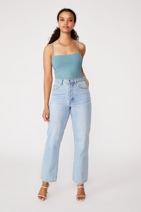 Square Neck Bodysuit, CHALKY TEAL