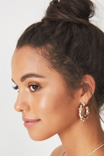 Embellished Hoops, GOLD/PEARLS