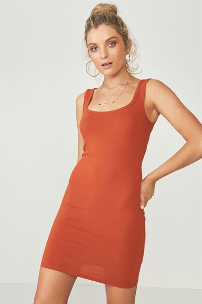 Basic Thick Strap Tank Dress, CINNAMON