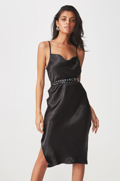 Midi Cowl Neck Dress, BLACK