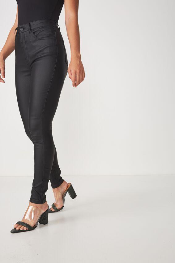 The Super Skinny Coated Jean, BLACK COATED