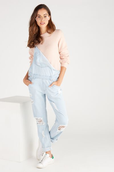 Relaxed Destroy Denim Overall, CLOUD BLUE