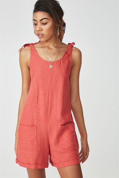 Lexi Tie Shoulder Linen Blend Playsuit, RUST