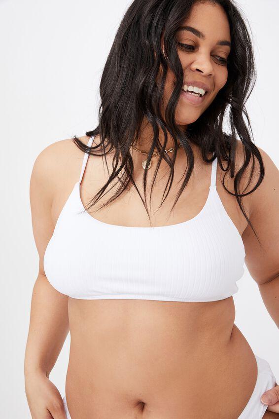 Miami Scoop Crop Bikini Top, WHITE/ WIDE RIB