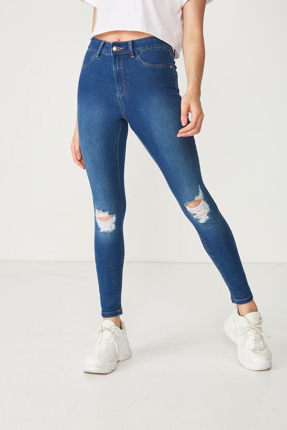 Super Skinny Ripped Denim Jean, REBEL BLUE