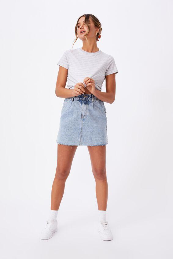 Classic T Shirt, SMALL DOUBLE STRIPE (GRY MRL/CLK PNK/WHT)