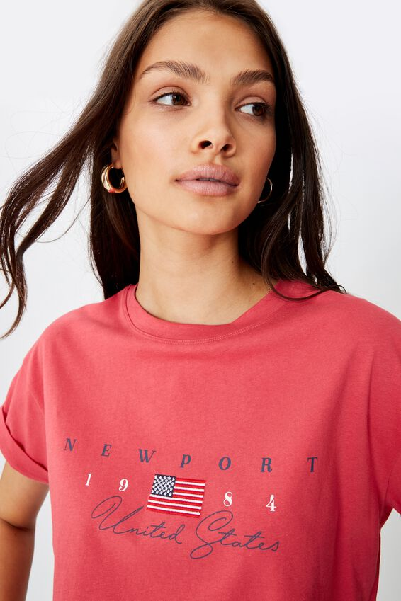 Newport 1984 Crop Tee, RETRO RED NEWPORT FLAG