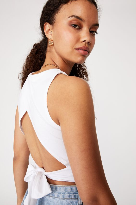 Sienna Backless Tie Up Top, WHITE