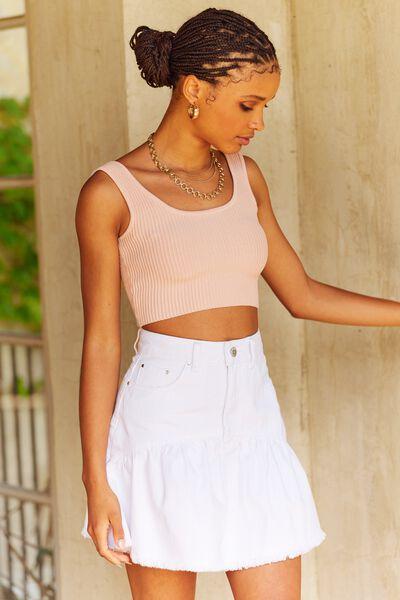 Ruffle Denim Mini Skirt, WHITE