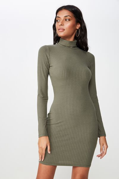 Kylie Roll Neck Rib Dress, OLIVE KHAKI
