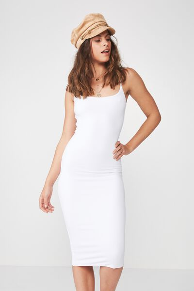 Party Thin Strap Midi Dress, WHITE