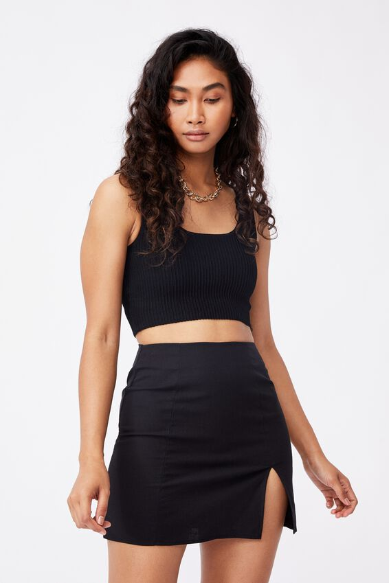 Michelle Split Mini Skirt, BLACK