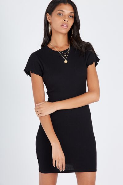 Rib Bodycon T-Shirt Dress, BLACK