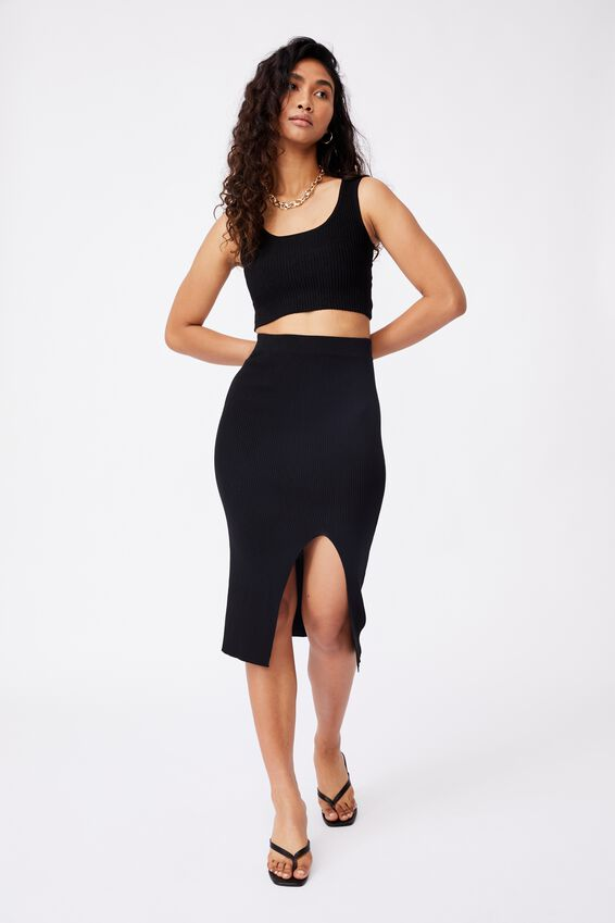 Audrey Midi Skirt Co Ord, BLACK