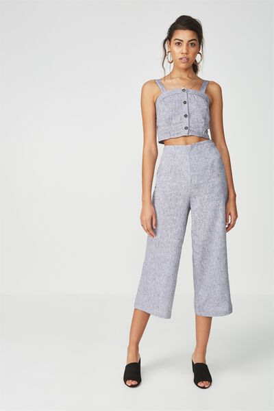 Crop Wide Leg Linen Pant, GREY