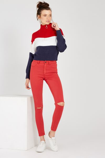 The Skinny Ripped Denim Jean, RED