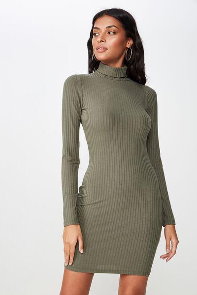 Kylie Roll Neck Rib Dress, OLIVE KHAKI