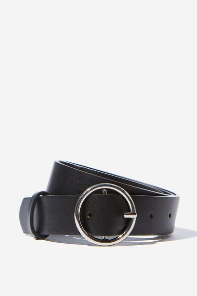 Mini Circle Metallic Belt, BLACK