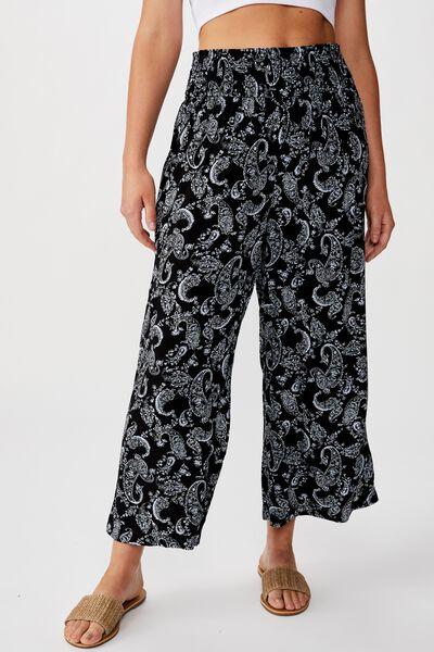 Rosie Shirred Pant, SUMMER PAISLEY