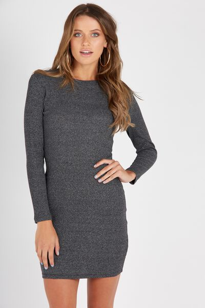 Longsleeve Rib Bodycon Dress, GREY TWIST