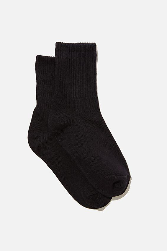 Classic Ribbed Sock, BLACK