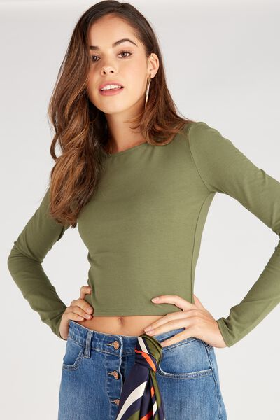 Basic Long Sleeve Raised Neck Crop Tee, LIGHT KHAKI