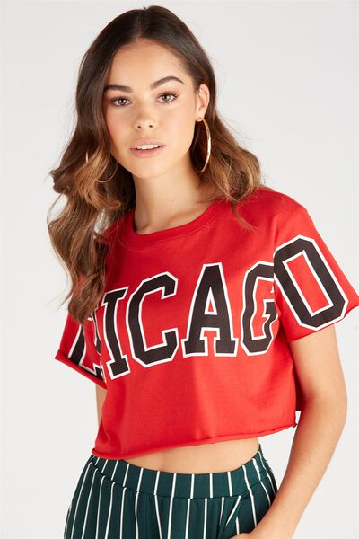 Printed Super Crop Tee, RED/CHICAGO