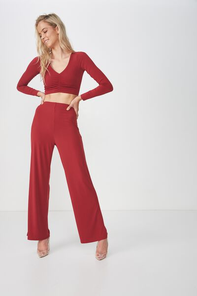 Party Set High Waist Wide Leg Pant, CHERRY WINE