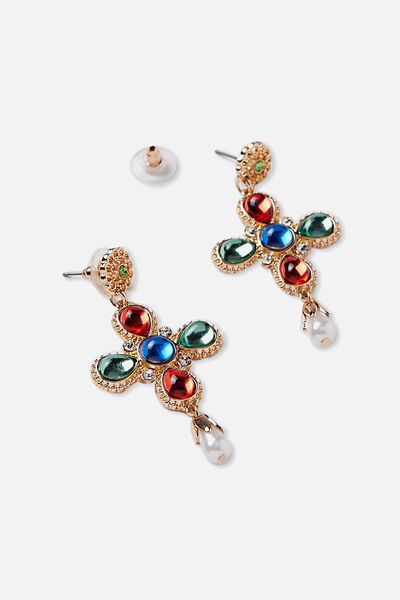 Multi Coloured Cross Earrings, MULTI/GOLD