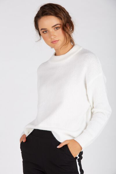 Courtney Cosy Knit Top, WHITE