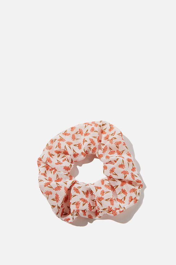 Daisy Organza Scrunchie, WHITE RED