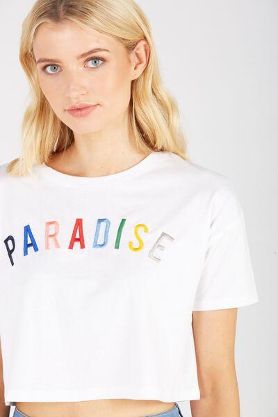 Printed Loose Crop Tee, WHITE/PARADISE