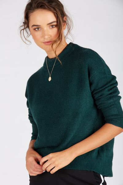 Courtney Cosy Knit Top, FOREST GREEN